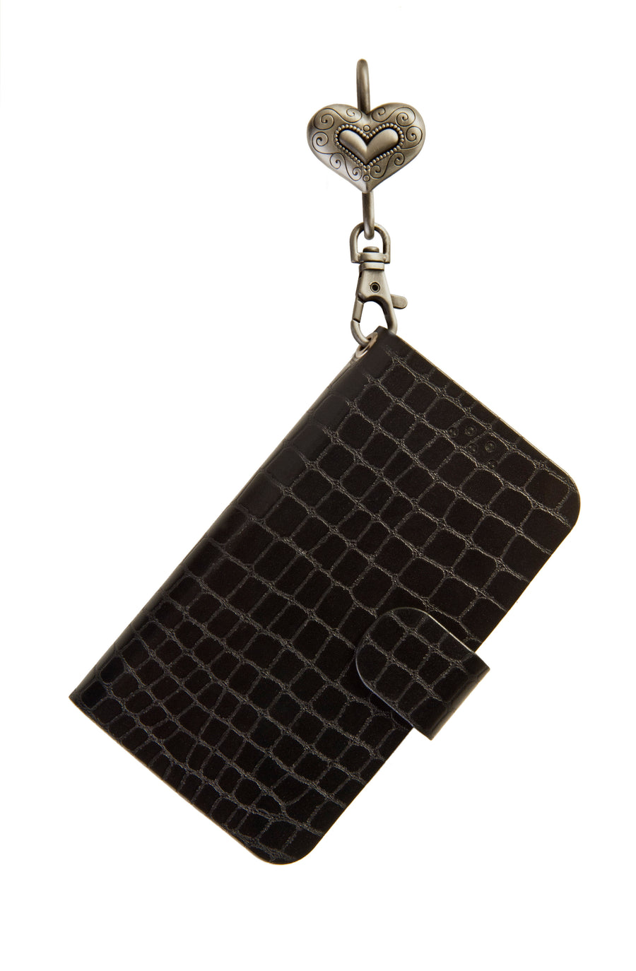 Black Phone Key'Purse Diary Case with Heritage Heart