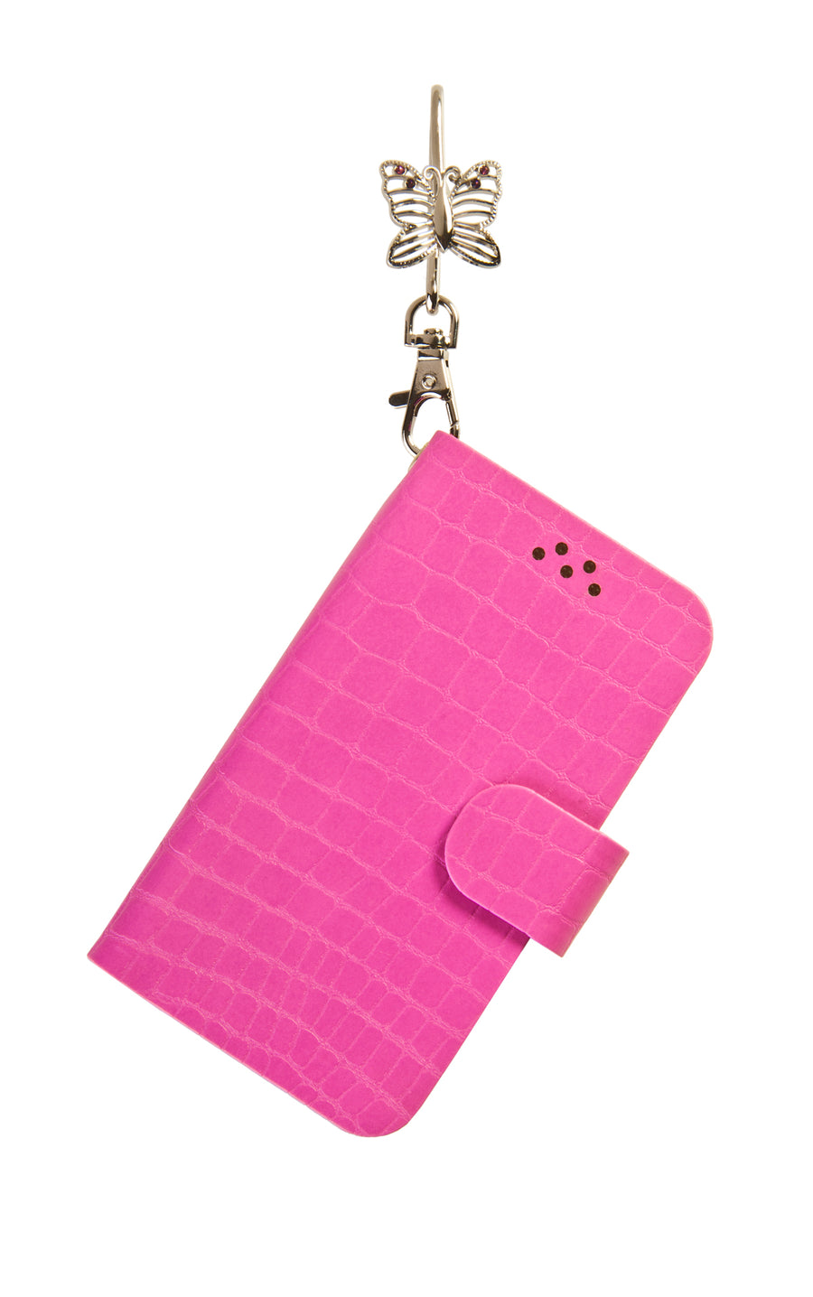 Pink Phone Key'Purse Diary Case with Silver Butterfly