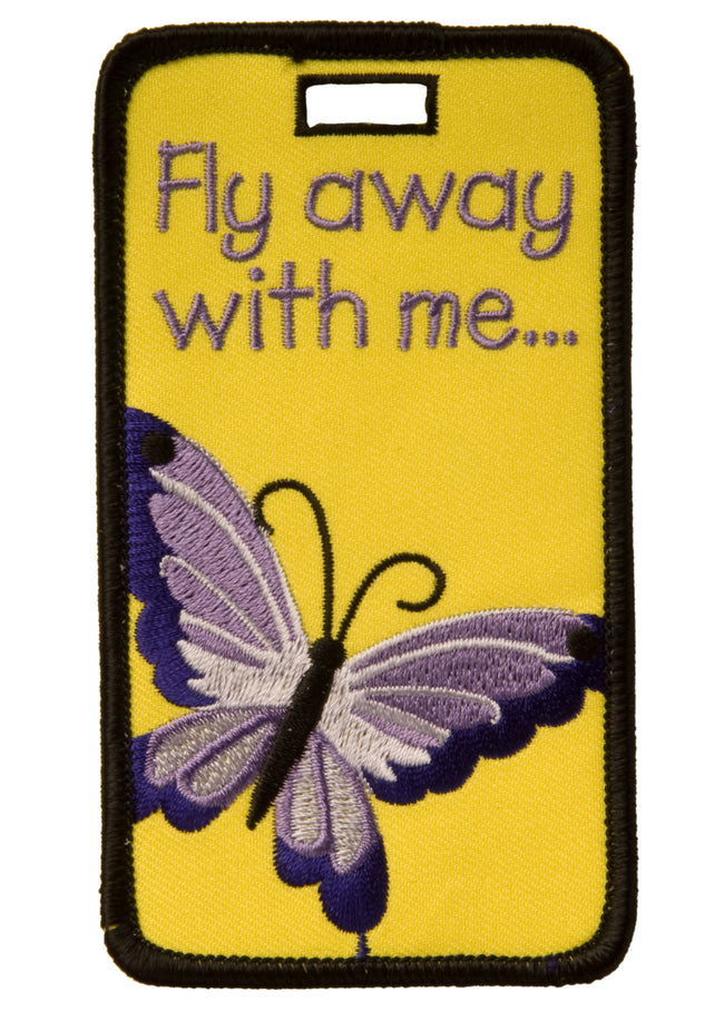 luggage tag, luggage i.d., luggage i.d. tag, butterfly luggage tag,