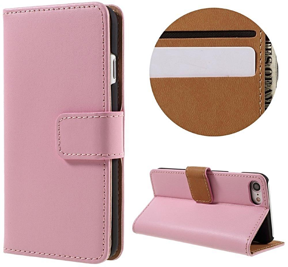 Pink Leather Wallet Case for iPhone 6 to X - God Of Cases