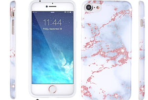 Sparkly Rose Gold & White Marble Case for iphone 6 to X - God Of Cases
