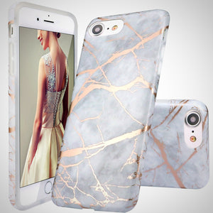 Grey Rose Gold Marble Case for iPhone 6 to X - God Of Cases