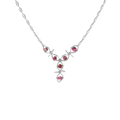 Garnet Vine Drop Necklace