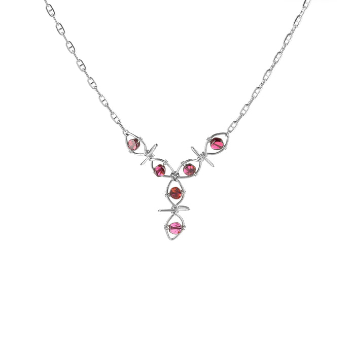 Eternal Garnet Vine Drop Necklace