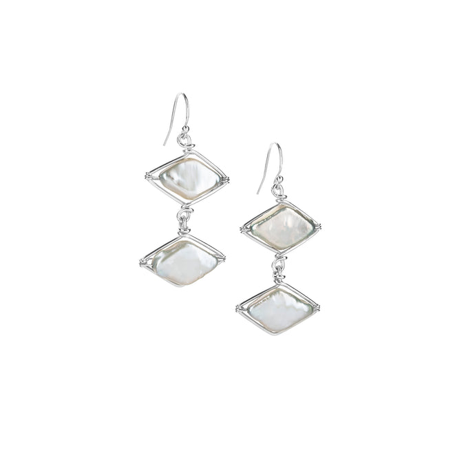 Pearl Diamond Point Earrings