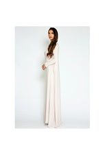 LAMACE Nude Cape Gown with Crystal and Bead Embellishments