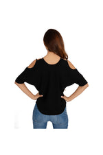 LAMACE Black Crepe Cold Shoulder Top with Crystal Embellishments