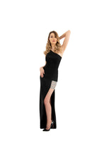 LAMACE Black Crepe Gown with Silver Crystal Embellishments
