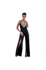 LAMACE Black Crepe Jumpsuit with Silver Crystal Embellished Neckline