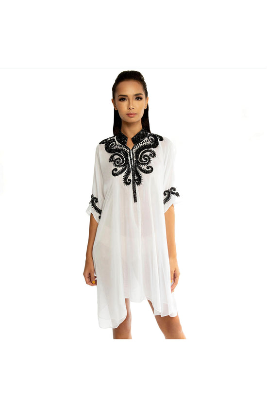 White Kaftan with Black Bead and Crystal Embellishment