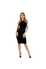 LAMACE Black Silk Jersey Midi Dress with Crystal and Bead Feather Embellishment