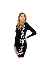 LAMACE Black Silk Jersey Midi Dress with White Floral Embellishment