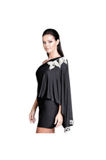 LAMACE Black Silk Jersey Mini Dress with Crystal and Beaded Bird Embellishment