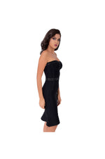 Black Strapless Bodycon Midi Dress with Black and Silver Bead and Sequin Embellishments