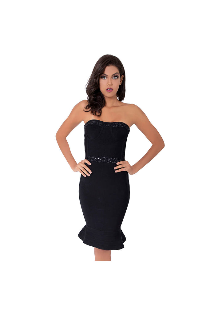 LAMACE Black Knit Bodycon Midi Dress with Silver and Black Sequin and Bead Embellishments