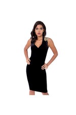 LAMACE Black Silk Velvet Midi Dress with Gold Embellishments
