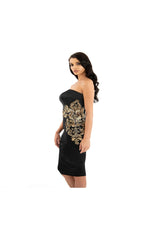 LAMACE Black Satin Gold Lace Embellished Midi Dress