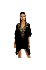 LAMACE Black Kaftan with Gold Floral Embellishment