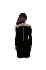 LAMACE Black Silk Velvet Mini Dress with Gold Crystal and Bead Embellished Shoulders