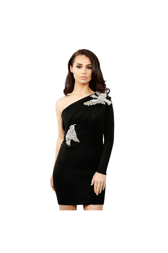 LAMACE Black Silk Jersey Mini Dress with Silver Crystal and Bead Bird Embellishments
