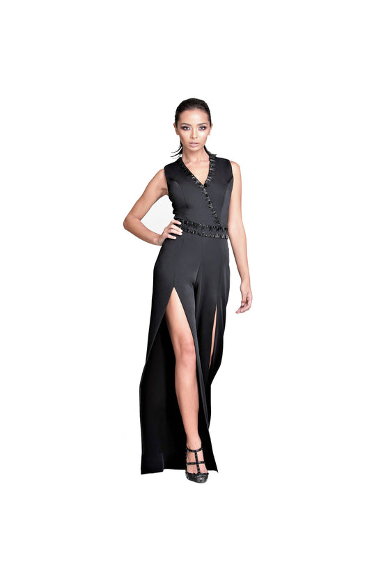 LAMACE Black Crepe Jumpsuit with Crystal Embellishment