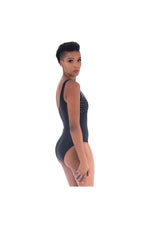 LAMACE Black One Piece Swimsuit with Silver Crystals