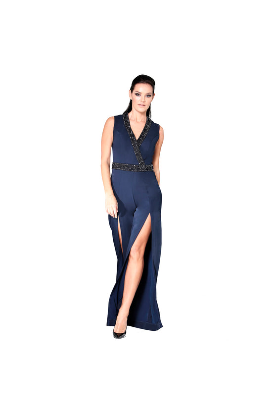 LAMACE Blue Crepe Jumpsuit with Crystal Beading