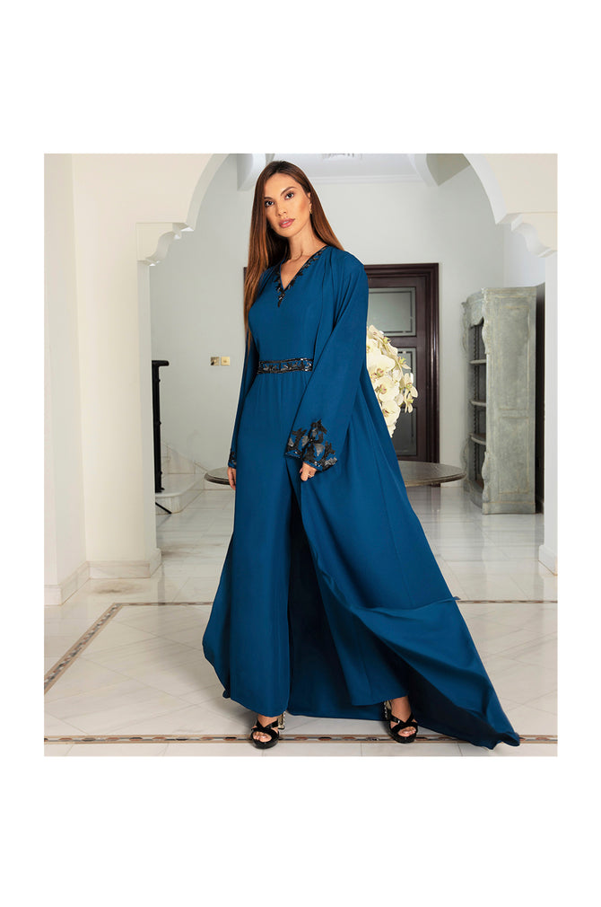 LAMACE Blue Jumpsuit with Cape and Sequins
