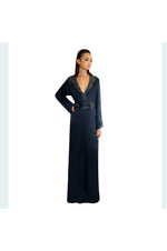 LAMACE Navy Blue Long Kaftan with Crystal and Bead Embellishment