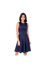 LAMACE Blue Crepe Midi Dress
