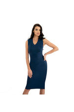 LAMACE Navy Blue Silk Jersey Midi Dress with Cross over Waist