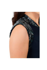 LAMACE Blue Crepe Crystal and Bead Bird Embellished Midi Dress