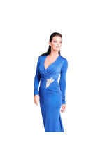 LAMACE Blue Silk Jersey Evening Gown with Crystal Bird Embellishment