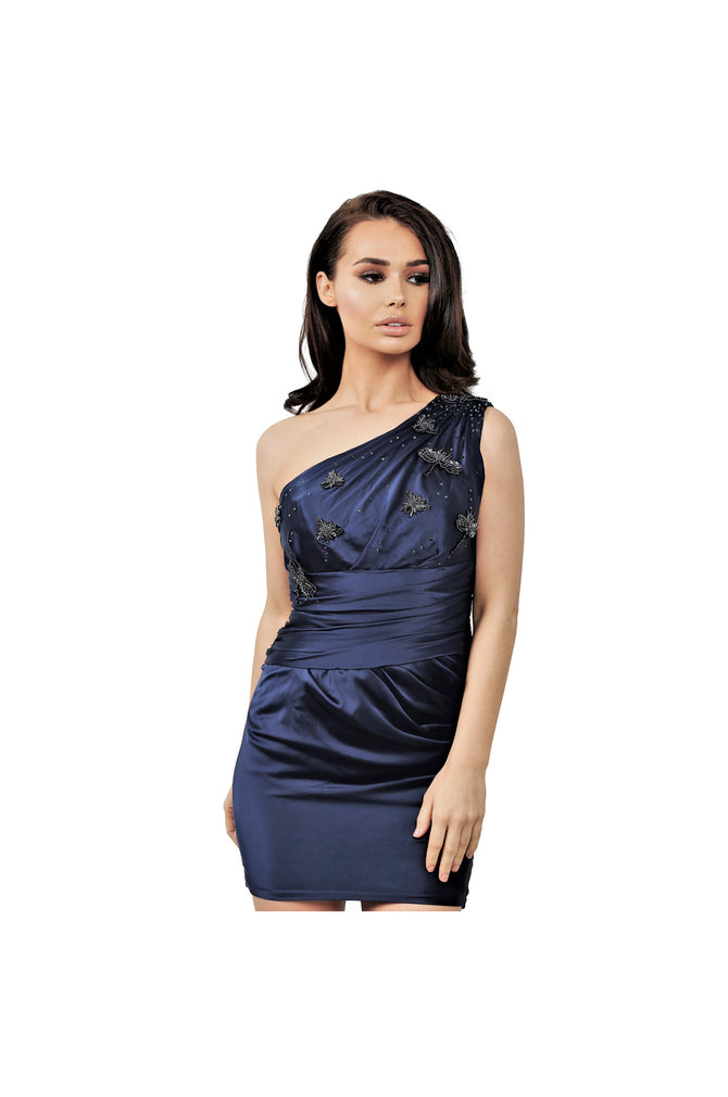 LAMACE Silk Satin Draped Mini Dress with Crystal and Bead Insect Embellishments
