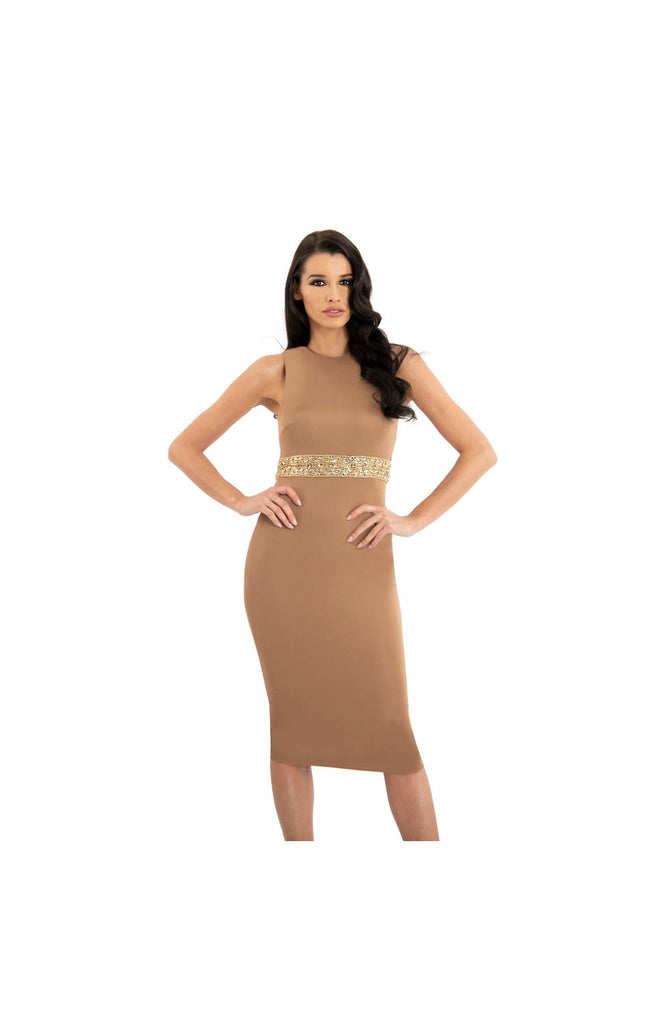 LAMACE Brown Silk Jersey Midi Dress with Gold Crystal and Bead Belt Embellishment