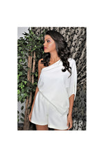 LAMACE White Draped Crepe Playsuit