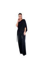LAMACE Black Draped Crepe Jumpsuit