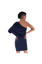 LAMACE Navy Blue Draped Crepe Mini Dress