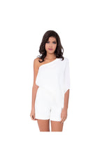 White Crepe Draped Playsuit