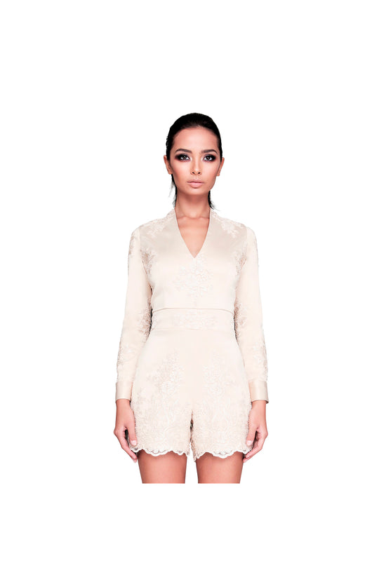 LAMACE Gold Satin and Lace Playsuit