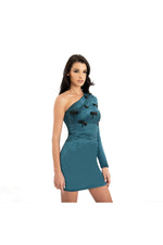 LAMACE Green Silk Satin Mini Dress with Black Insect Embellishments