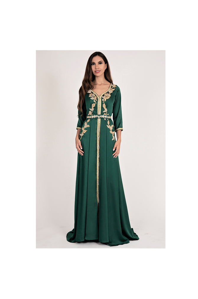 LAMACE Green Satin Arabic Kaftan Gown with Gold Embroidery and Embellishments