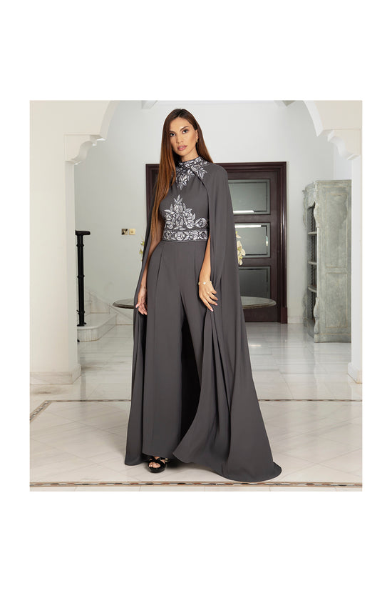 LAMACE Grey Emrbroidered Jumpsuit with Cape