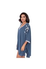Grey Kaftan with Crystal and Bead Neckline, Cuffs and Star Embellishments