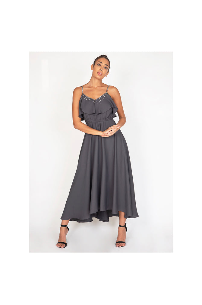 LAMACE Grey Mid Length Day Dress with Crystal Neckline