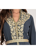 LAMACE Arabic Traditional Kaftan with Gold Embroidery and Embellishments