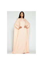 LAMACE Peach Sequin and Bead Embellished Cape Dress