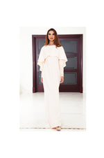 LAMACE Peach Cape Gown with Lace Crystal Embellished Sleeves