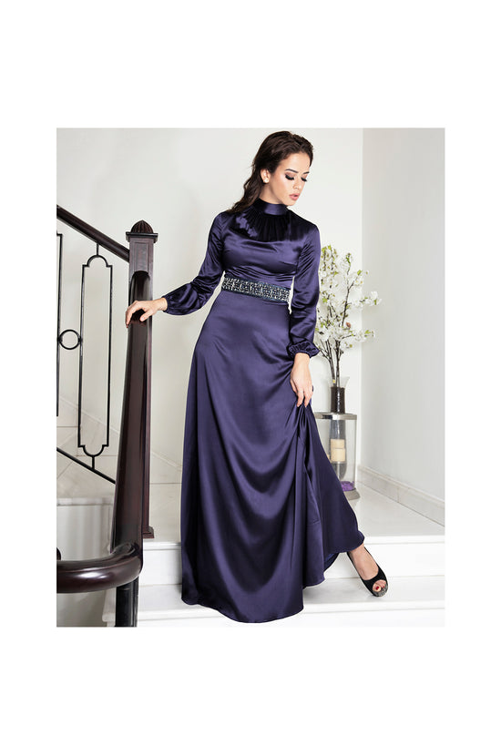 LAMACE Blue Silk Satin Crystal Embellished Gown