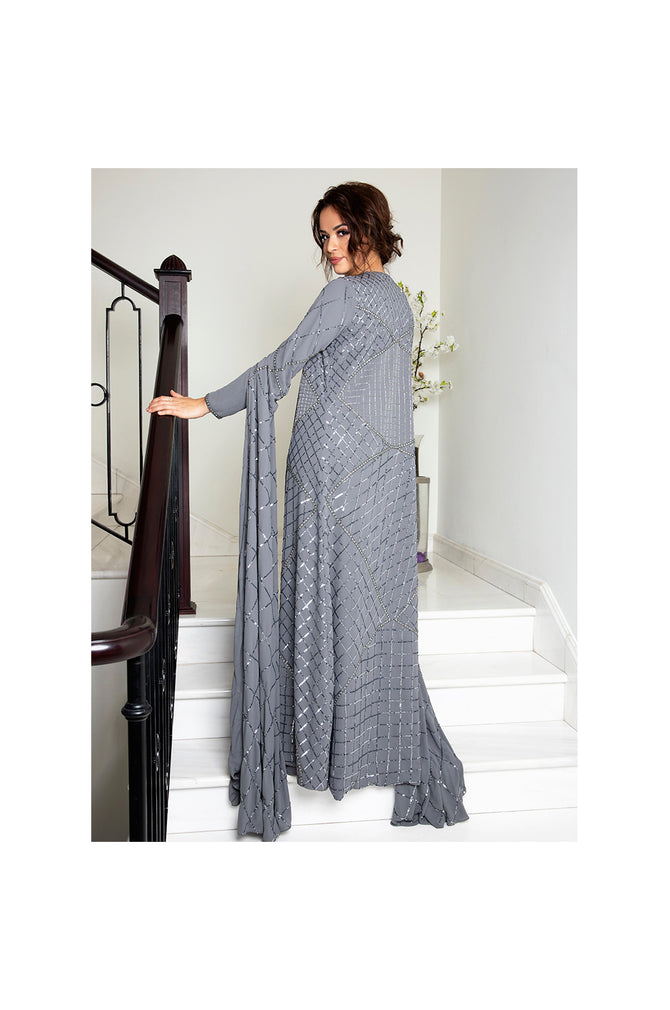 LAMACE Grey Fully Embellished Crepe Cape Gown
